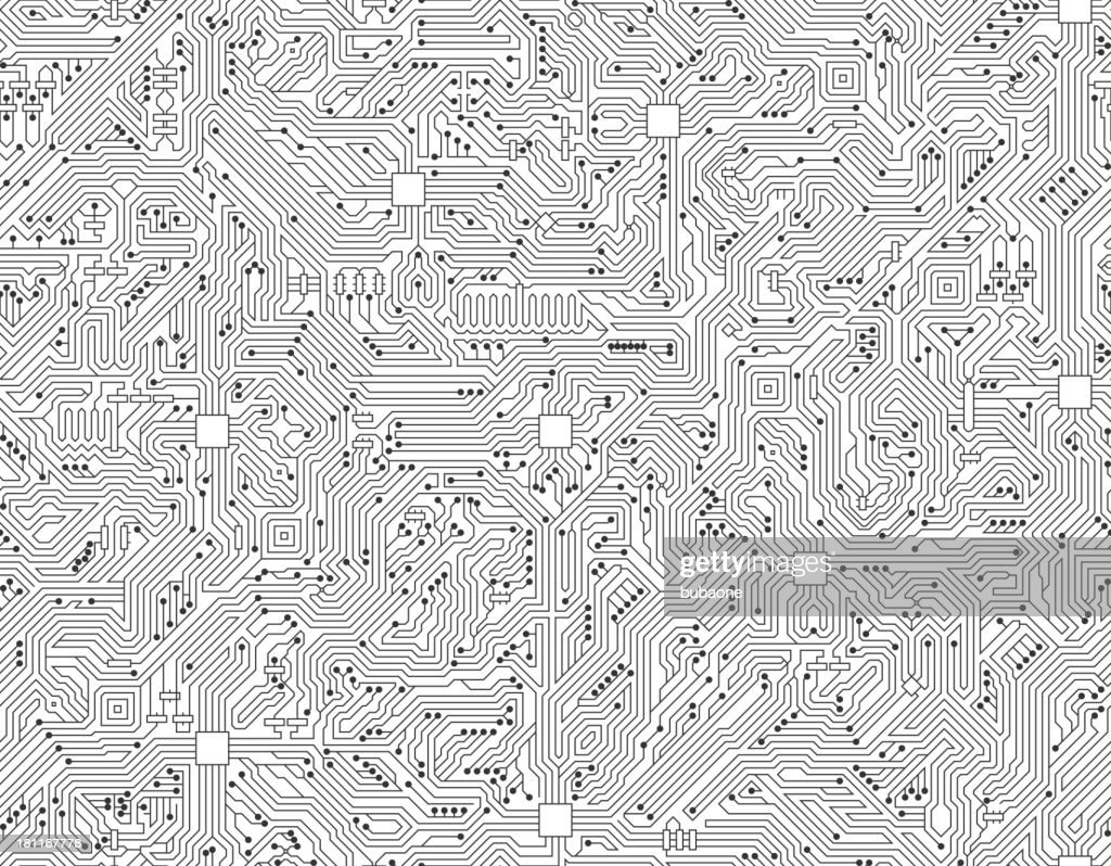 Computer Circuit Board Seamless Black and White Technology Background