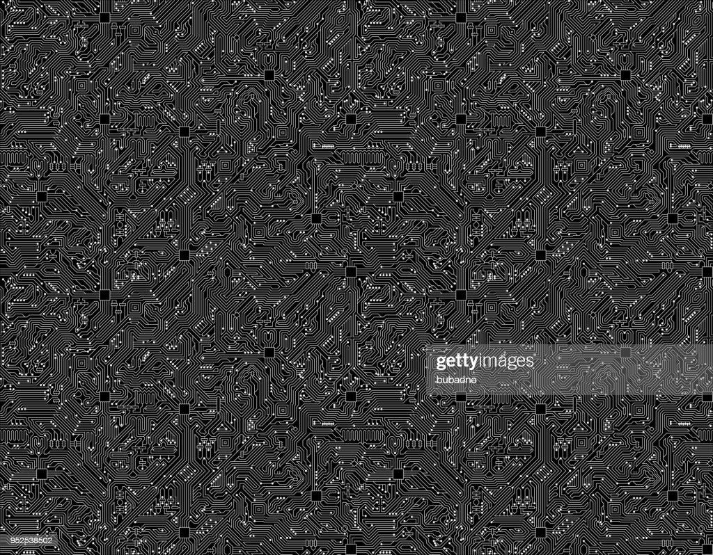 computer circuit board seamless black technology background vector art