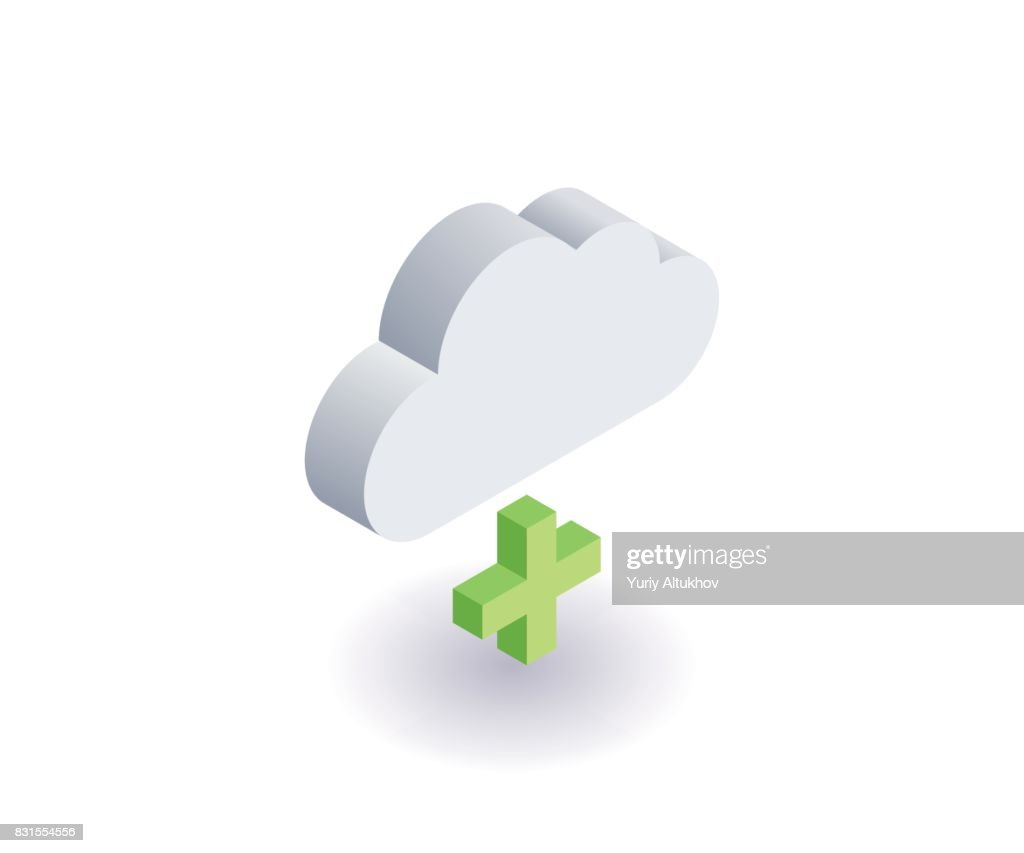 Computer Cloud icon, illustration, vector symbol in flat isometric 3D style isolated on white background.