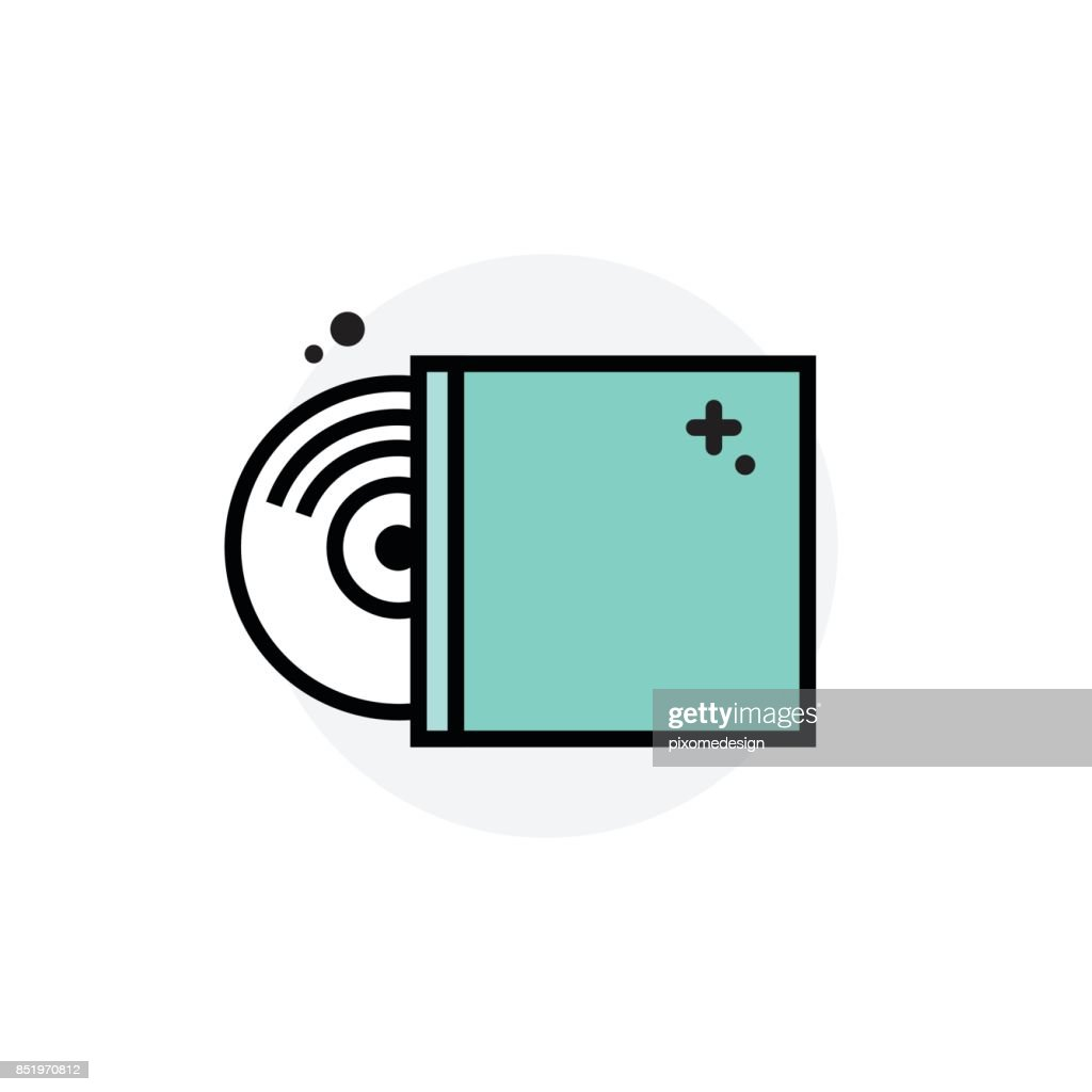 Computer component  cd dvd concept Isolated Line Vector Illustration editable Icon