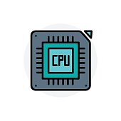Computer component CPU concept Isolated Line Vector Illustration editable Icon