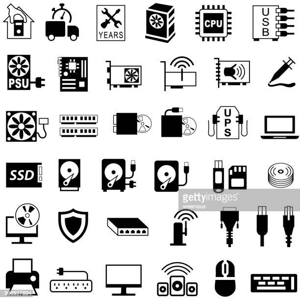 computer components and equipment icons - usb cord stock illustrations, clip art, cartoons, & icons