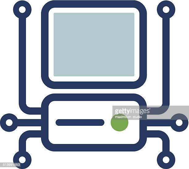 Computer connectivity dot integrate circuate future technology logo icon