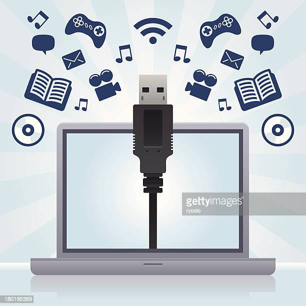 computer, data and usb - usb cable stock illustrations, clip art, cartoons, & icons