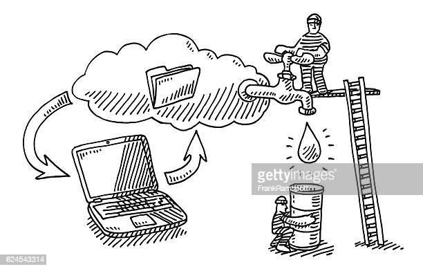 Computer Data Cloud Leak Theft Drawing