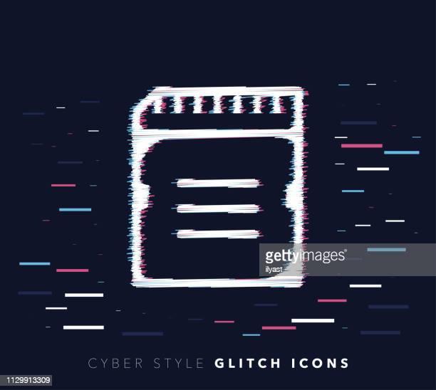 Computer Data Storage Glitch Effect Vector Icon Illustration