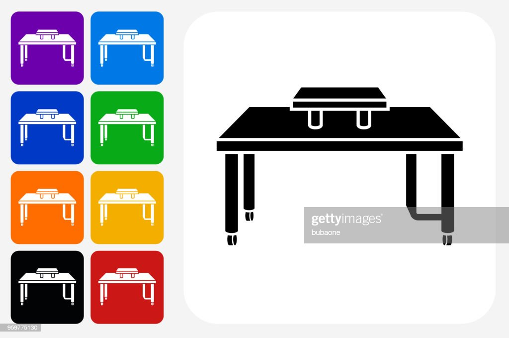 Computer Schreibtisch Icon Square Buttonset : Stock-Illustration