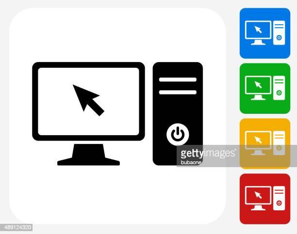 ilustraciones, imágenes clip art, dibujos animados e iconos de stock de ordenador de sobremesa con pantalla plana de iconos de diseño gráfico - pc de escritorio
