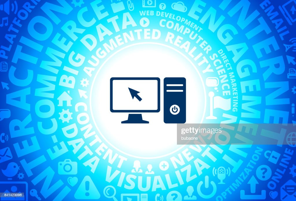 Computer Desktop Icon On Internet Modern Technology Words Background