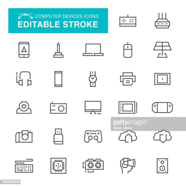 ilustraciones, imágenes clip art, dibujos animados e iconos de stock de computadora dispositivos trazo editable iconos - audio equipment