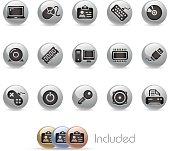 Computer & Devices Icon Set // Metal Round Series