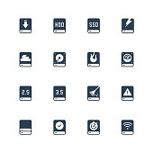 Computer disk vector icon set in glyph style