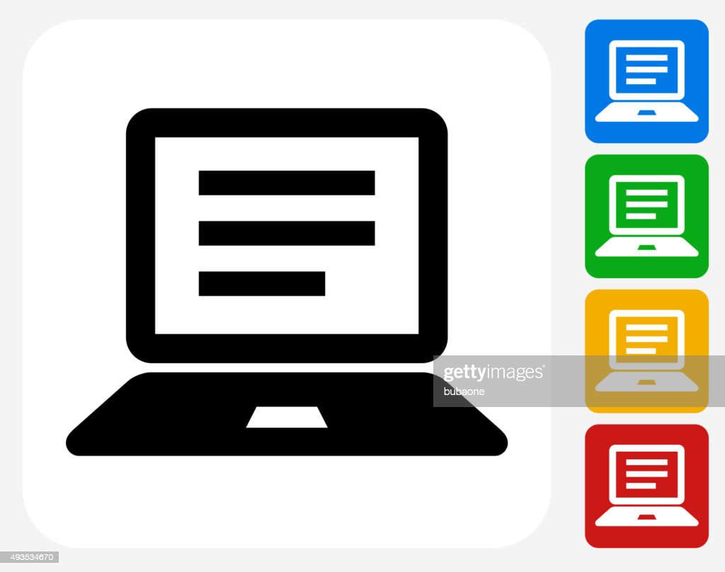 Computer Document Icon Flat Graphic Design