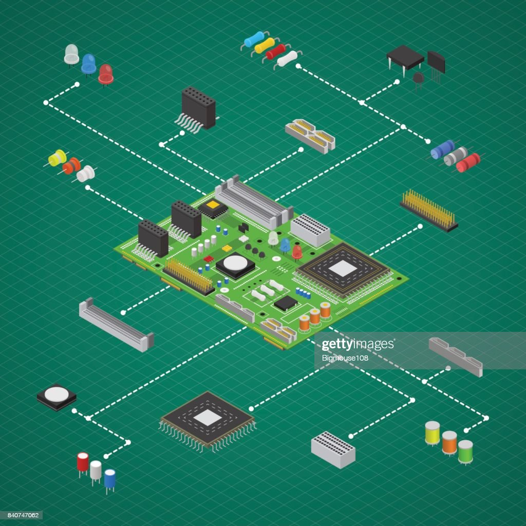 Computer Electronic Circuit Board Component Set Isometric View Electric Vector Art
