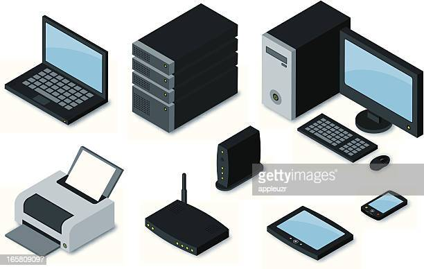 computer equipment icons - computer part stock illustrations