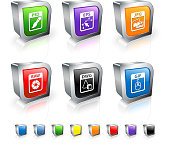 Computer Files 3D vector icon set with Metal Rim