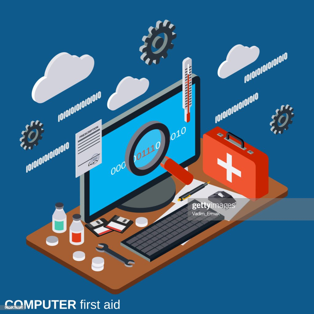 Computer first aid vector concept
