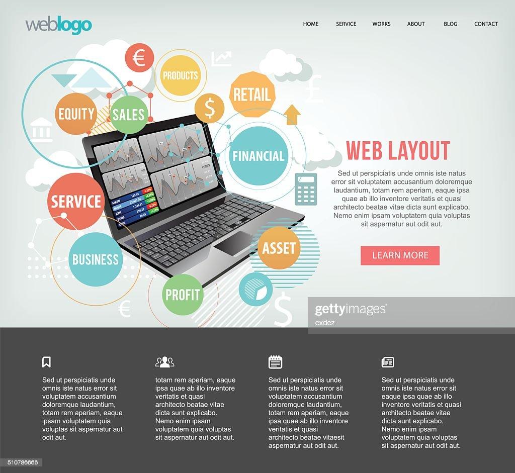 Computer for Business website : stock illustration