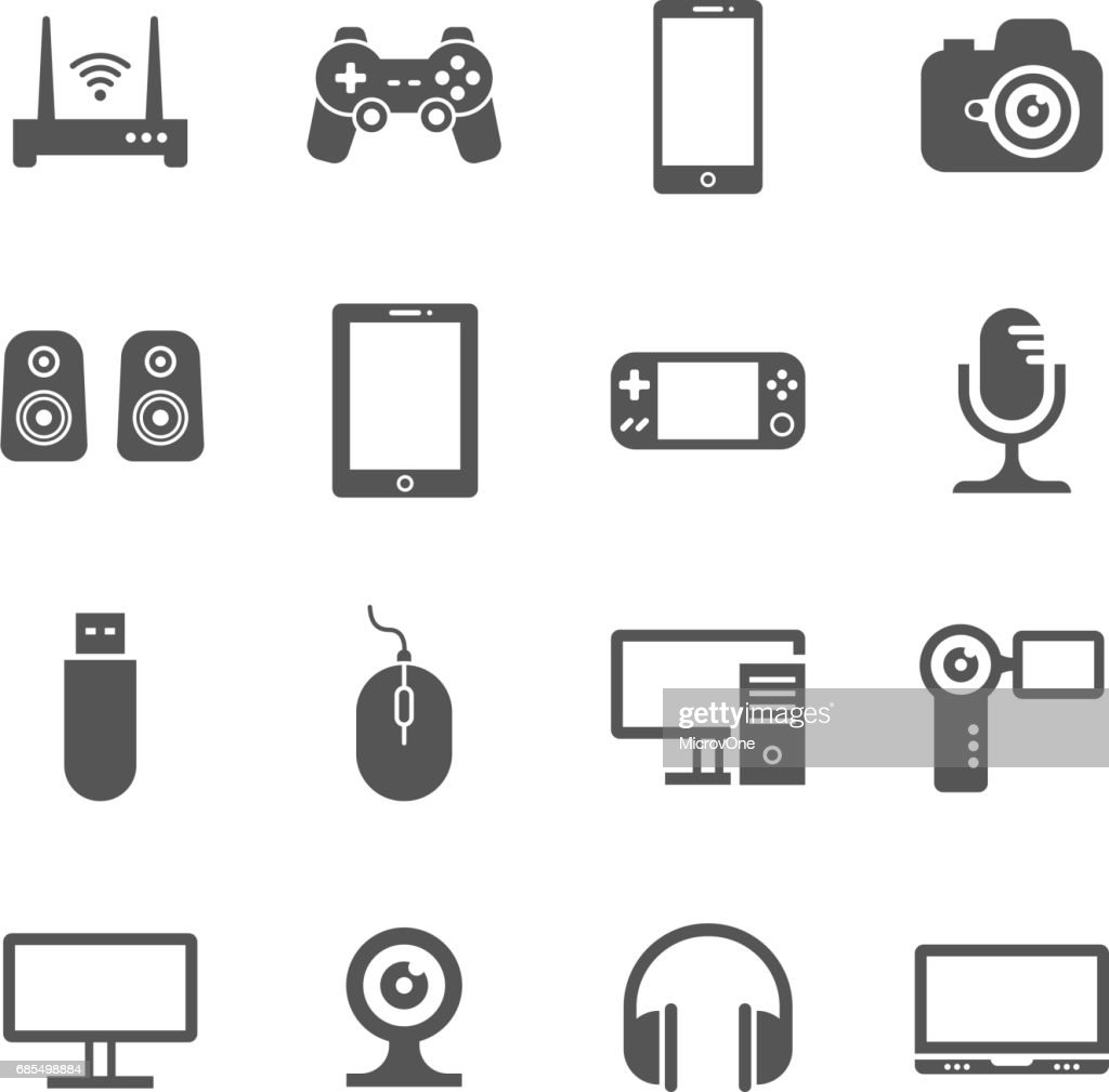 Computer gadgets and handheld digital device vector icons