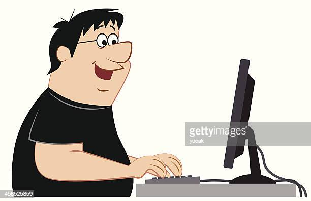computer geek - obsessive stock illustrations, clip art, cartoons, & icons