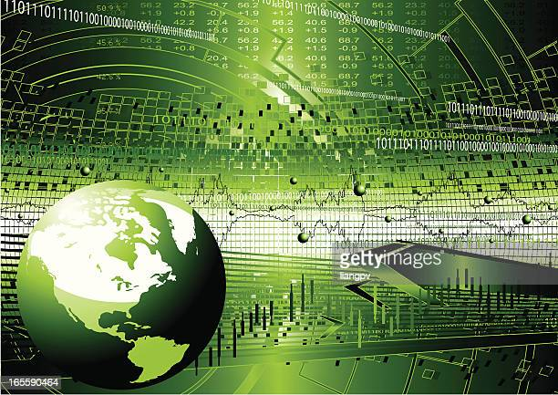 a computer graphic of a green globe - stock certificate stock illustrations