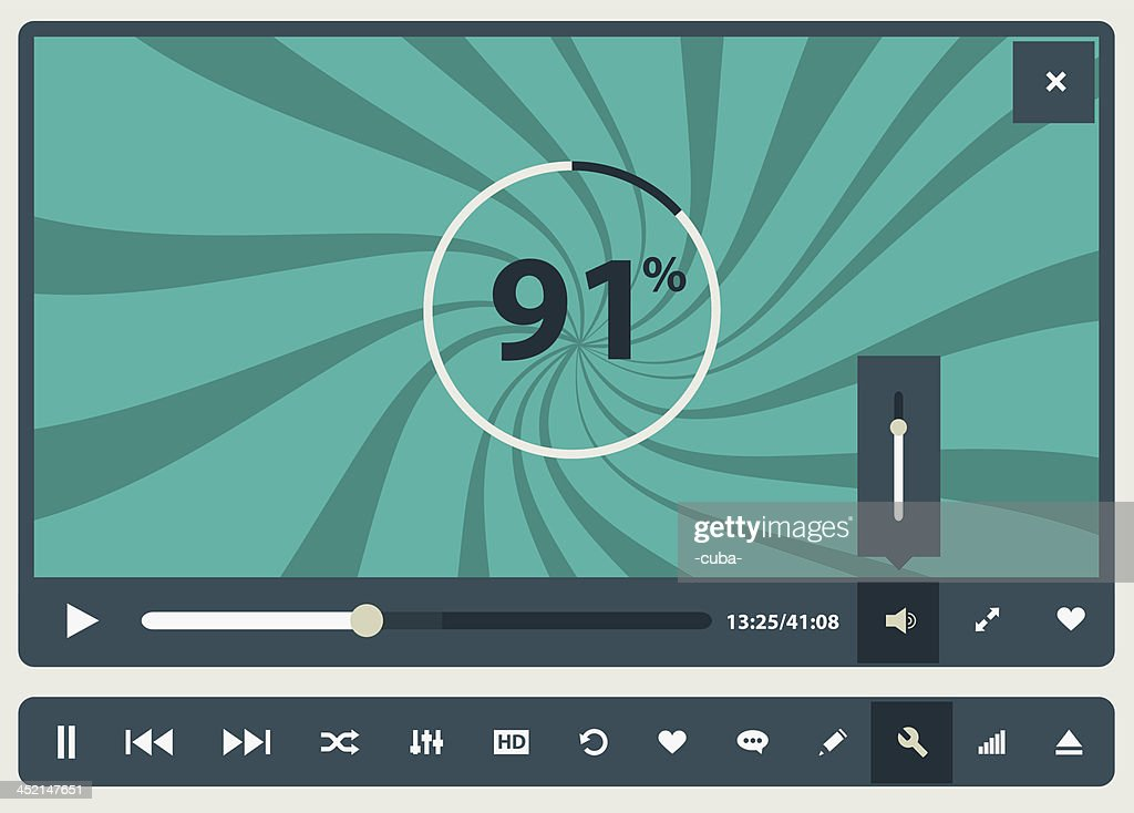 Computer graphic of media player buffering to play