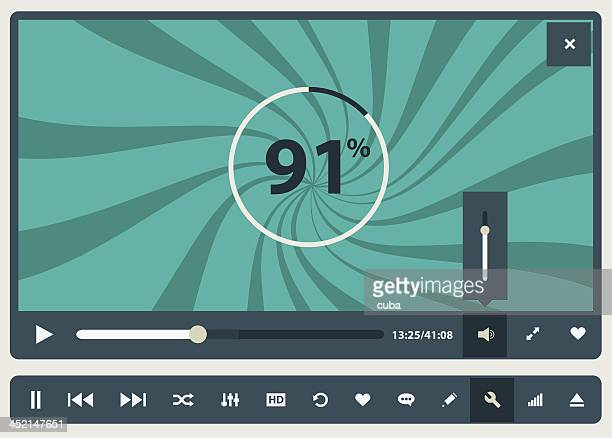 computer graphic of media player buffering to play - audio equipment stock illustrations