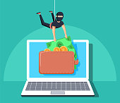Computer hacker character stealing money online. Vector flat cartoon illustration. Internet personal access