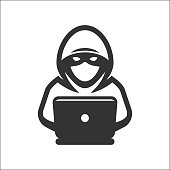 Computer hacker with laptop icon