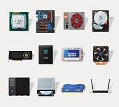 Computer hardware flat icon