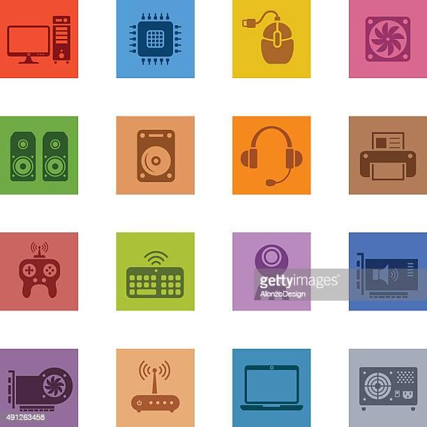 computer hardware icon set - power supply box stock illustrations, clip art, cartoons, & icons
