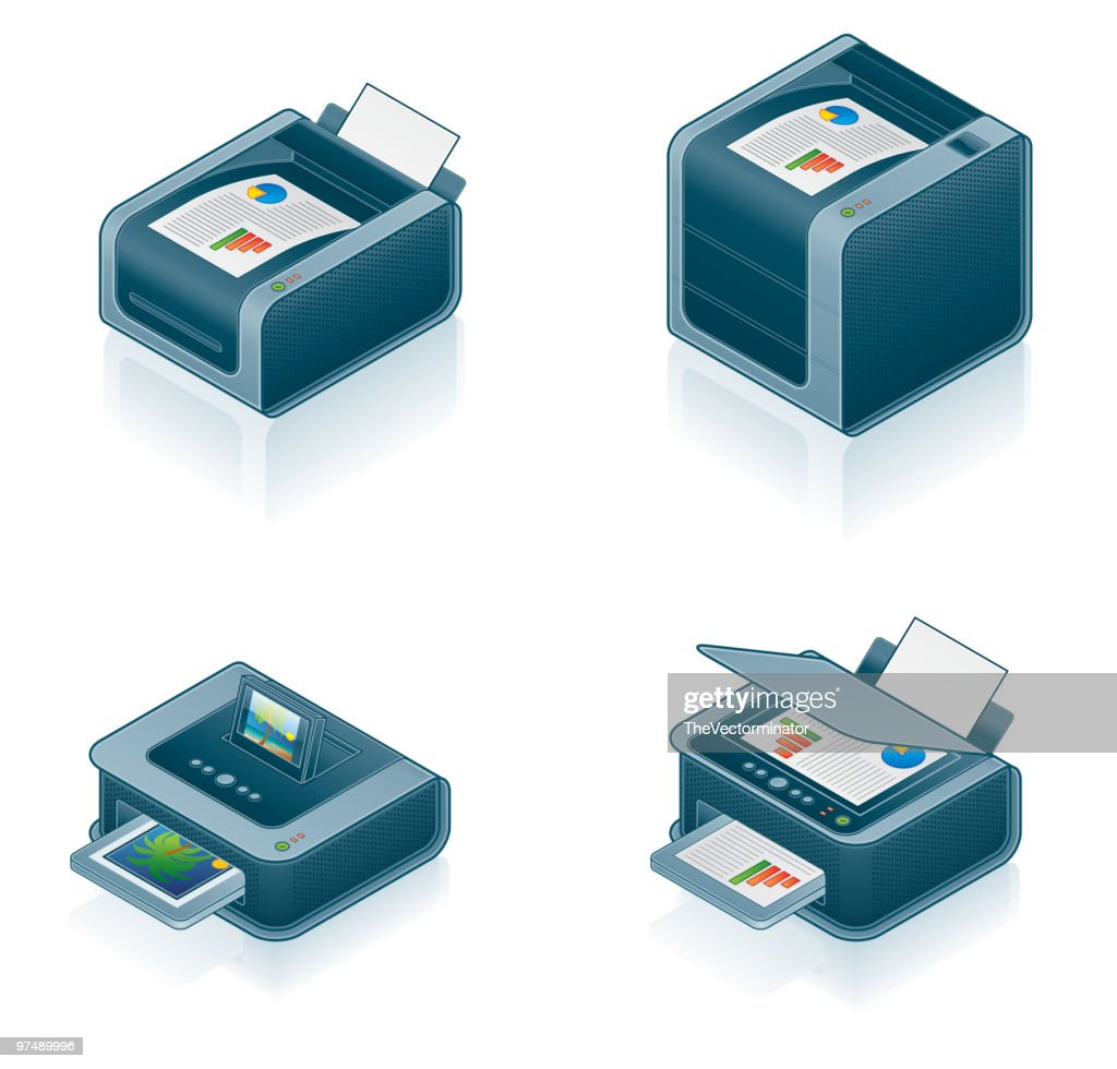 Computer Hardware Icons Set. Design Elements