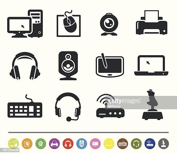 computer hardware icons | siprocon collection - computer speaker stock illustrations, clip art, cartoons, & icons