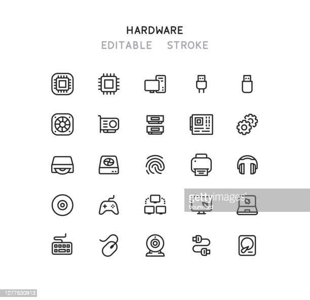 computer hardware line icons editable stroke - hard drive stock illustrations