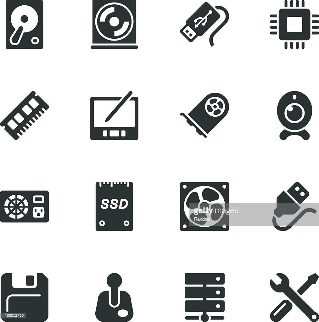 Computer Hardware Silhouette Icons   Set 2 : stock illustration