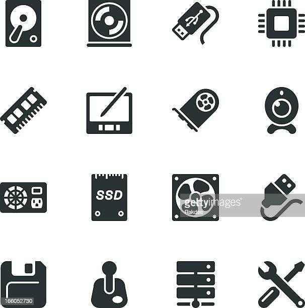computer hardware silhouette icons | set 2 - usb cable stock illustrations, clip art, cartoons, & icons