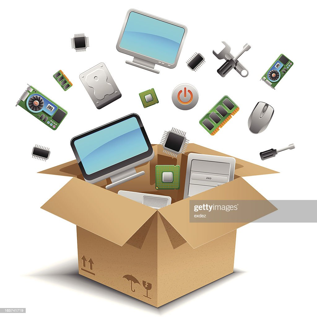 Computer Hardwares In The Box Vector Art Getty Images Parts Diagram Pictures Hd New