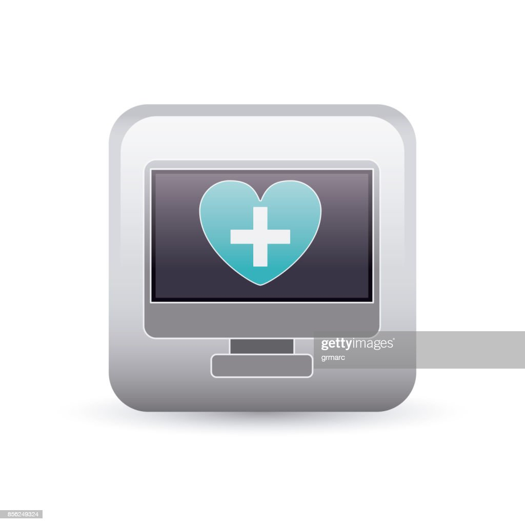 Computer Heart And Cross Inside Frame Design Vector Art | Getty Images