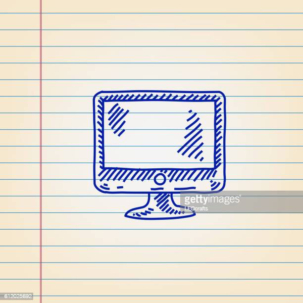 Computer Icon drawing on ruled Paper