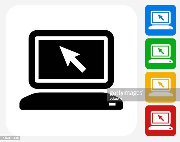 illustrations, cliparts, dessins animés et icônes de icône d'ordinateur plat de conception graphique - écran numérique