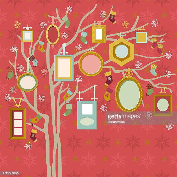 computer icon image of family tree at christmas - family tree stock illustrations, clip art, cartoons, & icons