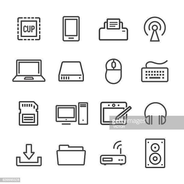 stockillustraties, clipart, cartoons en iconen met computer icon - line series - tablet pc