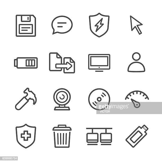 computer icon set - line series - wastepaper basket stock illustrations, clip art, cartoons, & icons