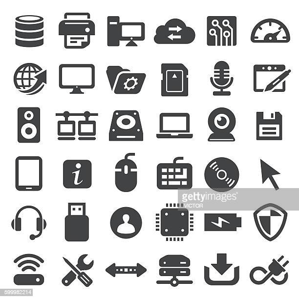 computer icons - big series - computer part stock illustrations