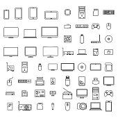 Computer icons from thin lines, vector illustration.