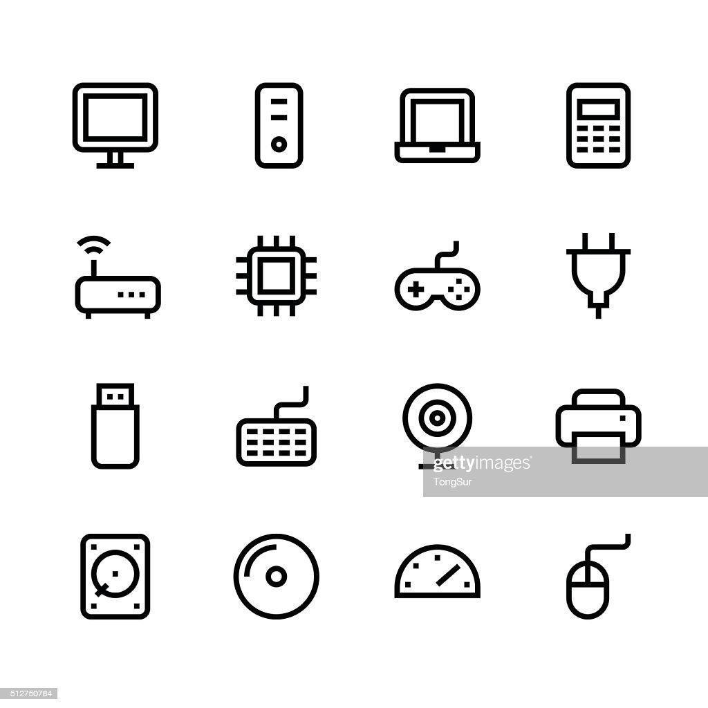Computer icons - line - black series : stock illustration