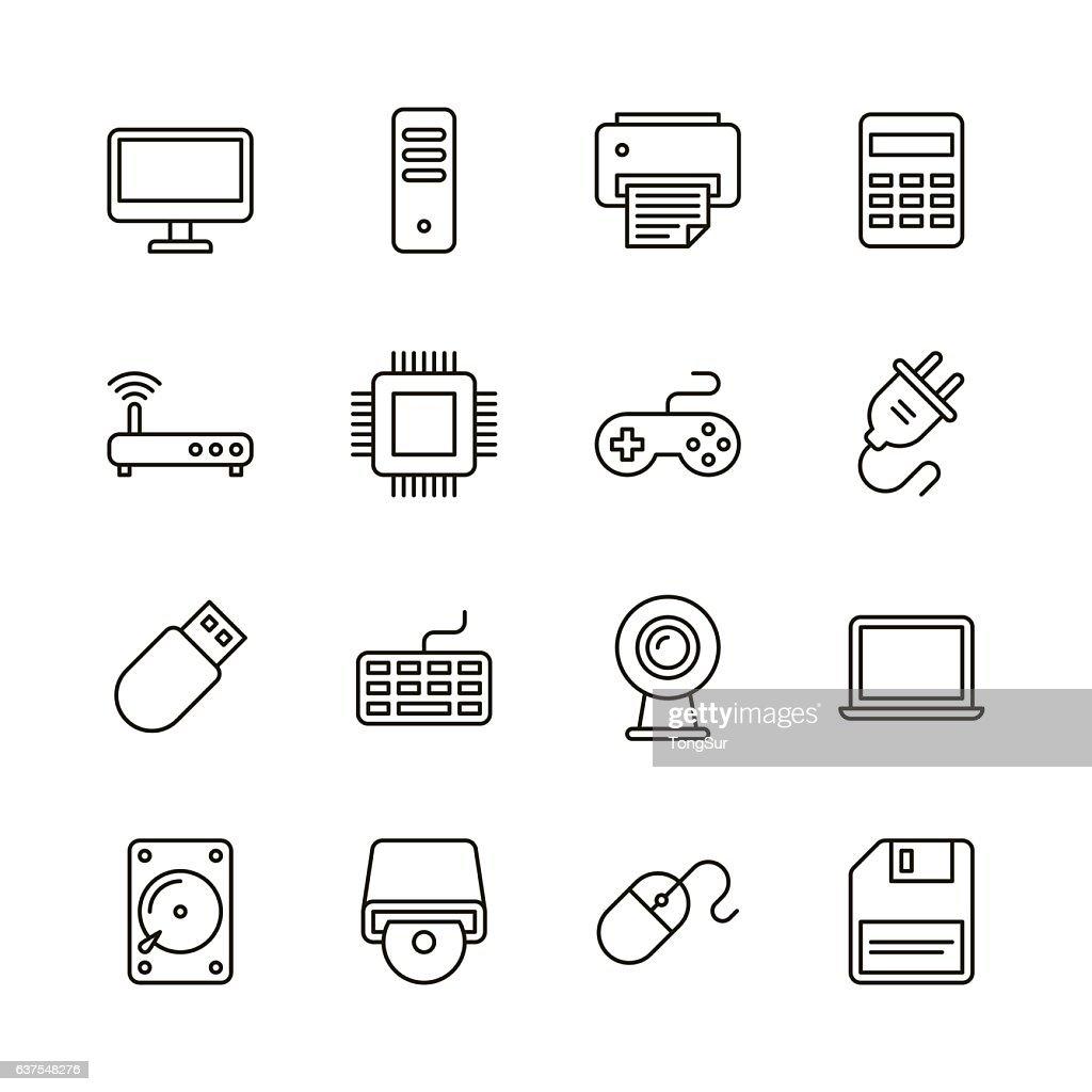 Computer icons - Line Series : stock illustration