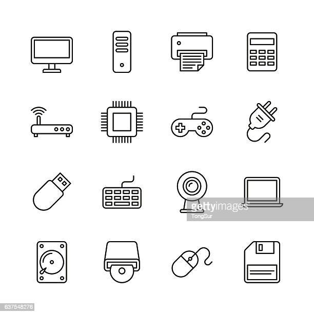 computer icons - line series - floppy disk stock illustrations, clip art, cartoons, & icons