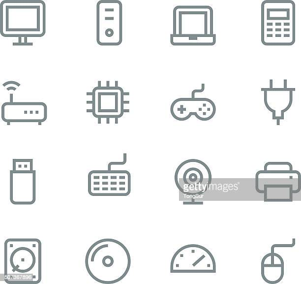 computer icons - line - usb cable stock illustrations, clip art, cartoons, & icons