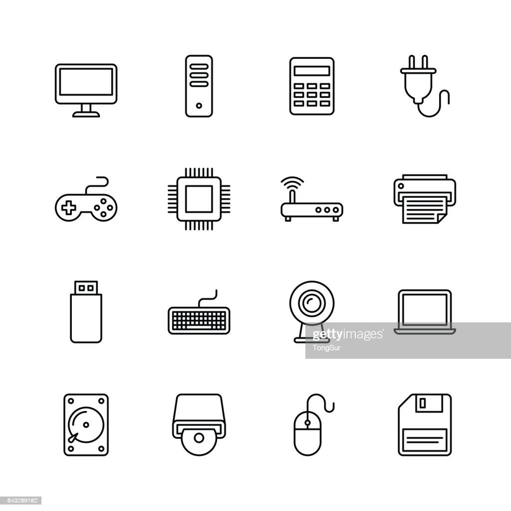 Computer icons - line : stock illustration